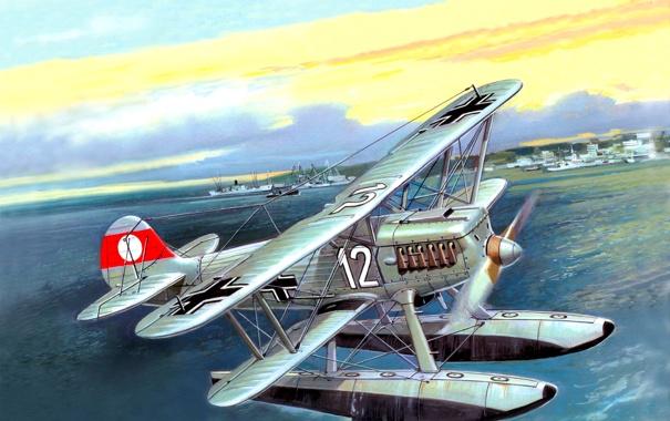 Фото обои небо, рисунок, корабли, арт, порт, самолёт, немецкий