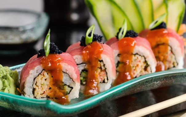 Фото обои рис, икра, суши