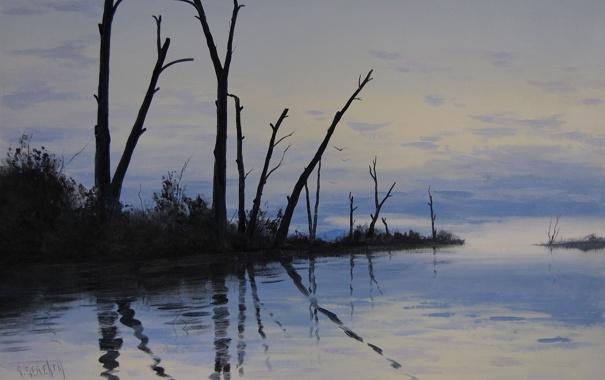 Фото обои деревья, природа, озеро, отражение, стволы, палки, арт
