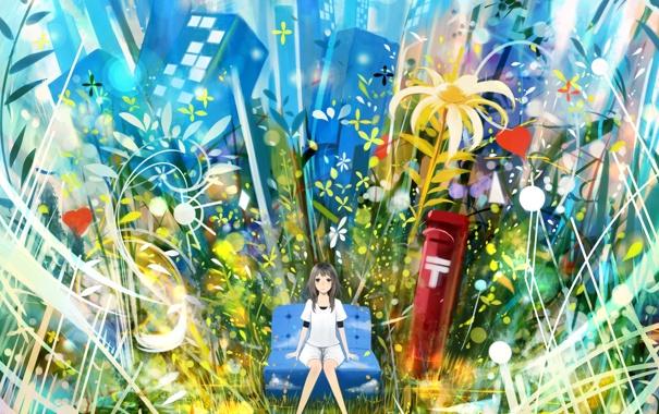 Фото обои девушка, цветы, город, диван, дома, растения, аниме