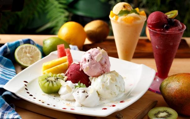 Фото обои лимон, киви, мороженое, лайм, фрукты, манго