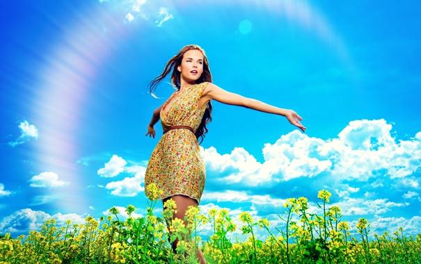 Фото обои небо, девушка, облака, природа, радуга, шатенка, полевые цветы