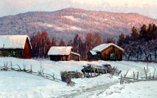 Фото обои зима, лес, пейзаж, холмы, картина, деревня, домики