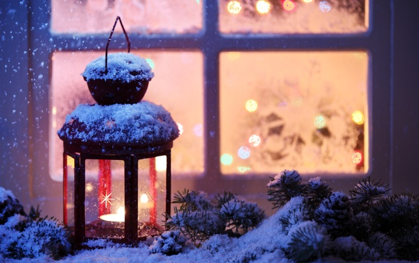 Фото обои зима, снег, снежинки, окна, свеча, окно, фонарь