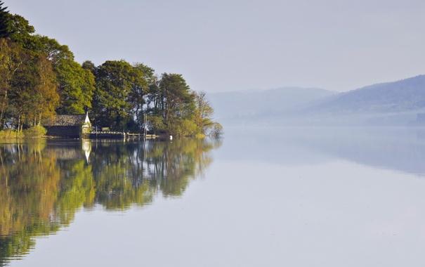 Фото обои пейзаж, туман, озеро, дом
