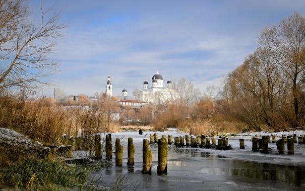 Фото обои осень, пейзаж, природа, лёд, октябрь, собор, арзамас