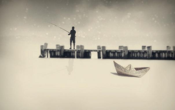 Фото обои пейзаж, мост, рыбак, кораблик, монтаж