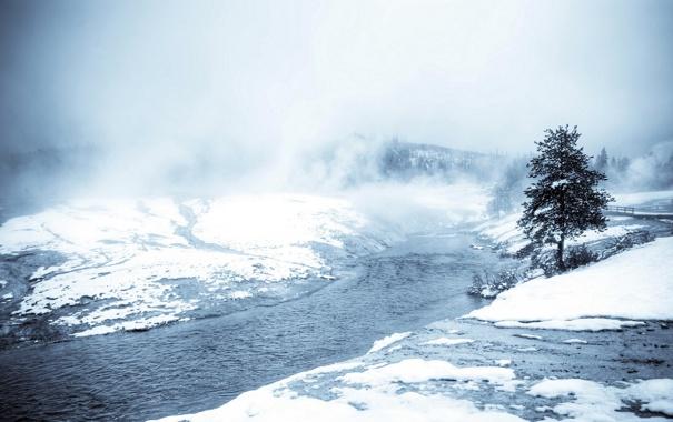 Фото обои снег, пейзаж, природа, река