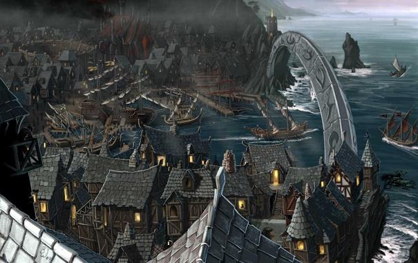 Фото обои море, город, корабли, бухта, залив, арка