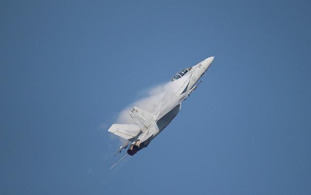 Фото обои небо, полет, самолет, истребитель, показать, F-18F Super Hornet