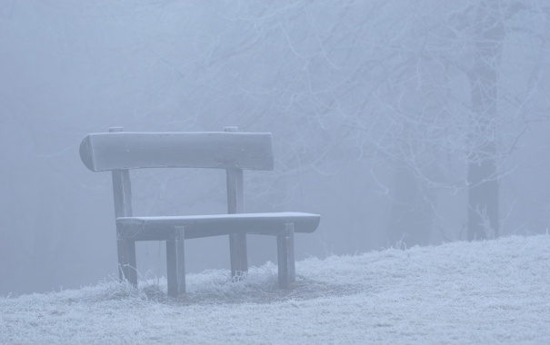 Фото обои зима, снег, скамейка, природа, настроение, лавочка, скамейки
