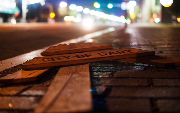 Фото обои город, знак, улица