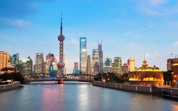 Фото обои мост, река, небоскреб, Китай, Шанхай, river, bridge