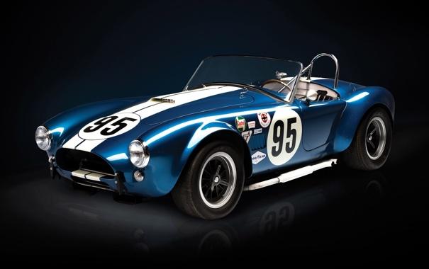Фото обои синий, Roadster, Shelby, Кобра, суперкар, полумрак, передок