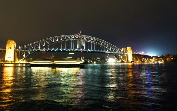 Фото обои ночь, мост, огни, река, выдержка, Австралия, фонари