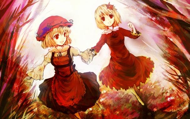 Фото обои осень, листья, девушки, арт, виноград, чепчик, touhou