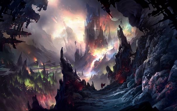 Фото обои пейзаж, горы, камни, скалы, планеты, человек, башня