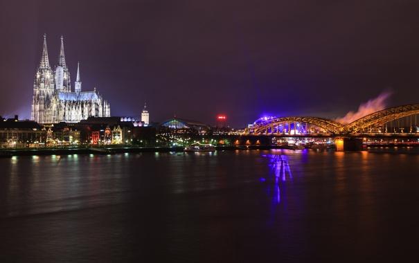 Фото обои ночь, мост, город, река, Германия, церковь, Germany