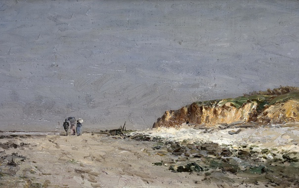Фото обои пейзаж, люди, берег, картина, Карлос де Хаэс, Пляж в Виллервиле