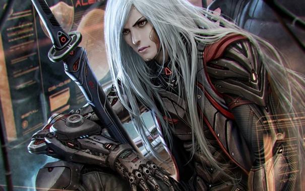 Фото обои металл, интерфейс, меч, арт, парень, киборг, белые волосы