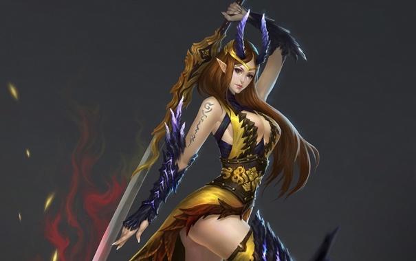 Фото обои девушка, оружие, фон, меч, тату, арт, эльфийка