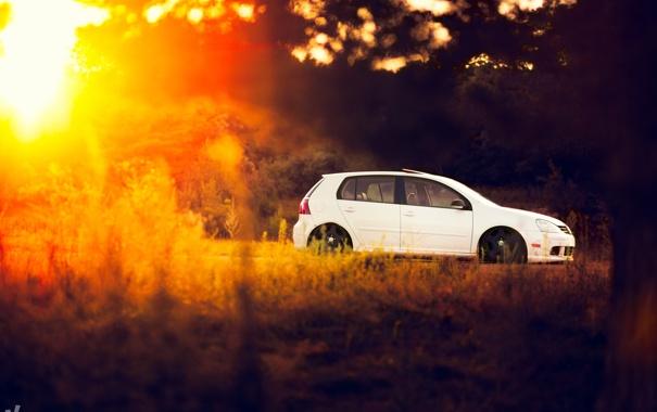 Фото обои белый, volkswagen, день, солнечно, гольф, golf, gti