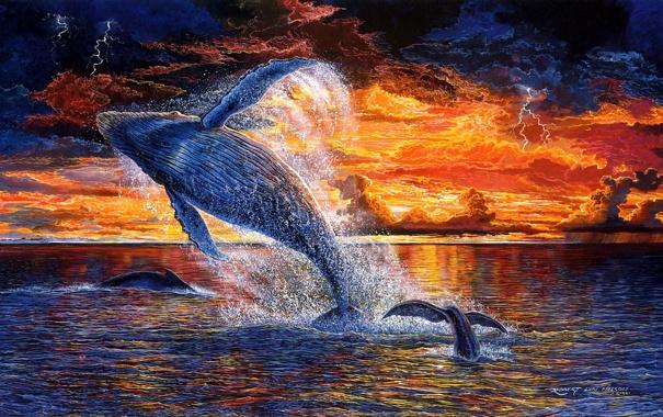 Фото обои море, вода, солнце, закат, брызги, океан, арт