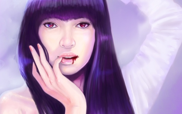 Фото обои девушка, лицо, кровь, волосы, рука, арт, губы