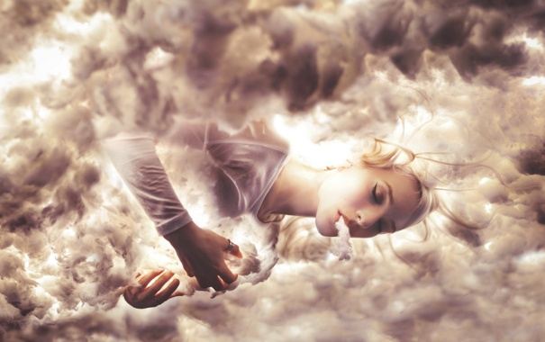 Фото обои девушка, облака, мечты