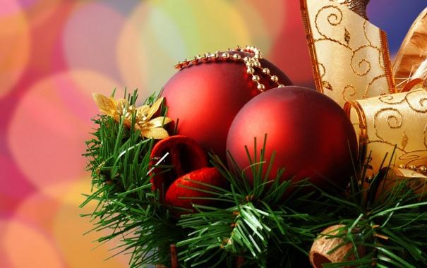 Фото обои шары, елка, лента, красные, 2560x1600, золотая