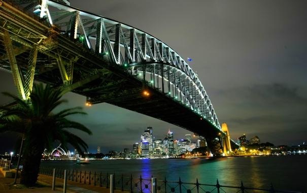 Фото обои ночь, мост, огни, дома, Австралия, театр, Сидней