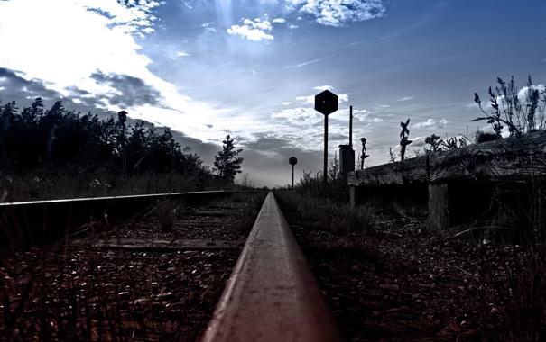 Фото обои дорога, небо, даль, знаки, железная, светофоры