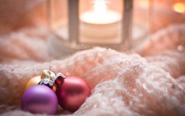 Фото обои шарики, праздник, рождество, Свечи, Новый год, christmas, new year
