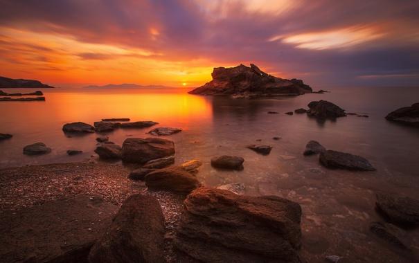 Фото обои побережье, Греция, вечер, берег