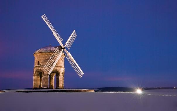 Фото обои поле, снег, пейзаж, ночь, Мельница