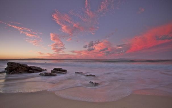 Фото обои море, волны, небо, вода, камни, фото, океан
