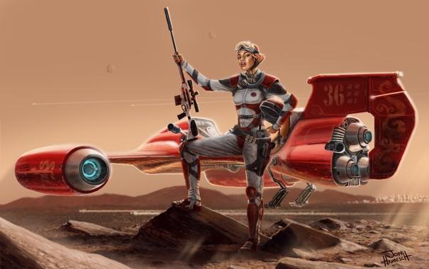 Фото обои девушка, горы, пустыня, планета, марс, пилот, красная
