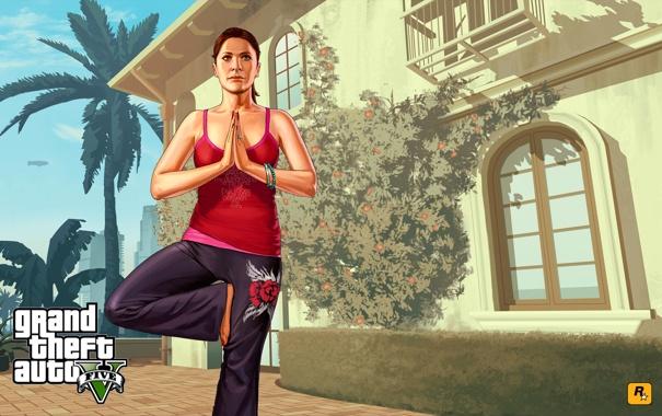 Фото обои йога, Grand Theft Auto V, gta5, аманда