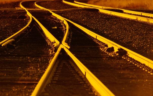 Фото обои закат, рельсы, железная дорога