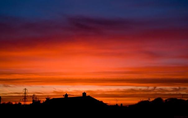 Фото обои небо, солнце, пейзаж, закат, природа, краски, дома