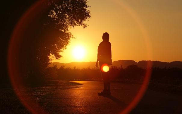 Фото обои закат, природа, силуэт, тень. человек