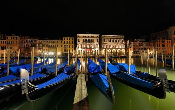 Фото обои ночь, огни, Италия, Венеция