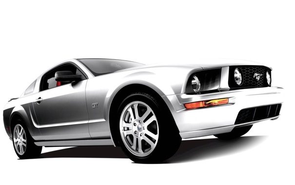 Фото обои машина, белый фон, Mustang GT
