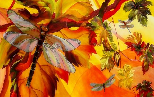 Фото обои природа, лист, дерево, рисунок, цвет, крылья, ветка