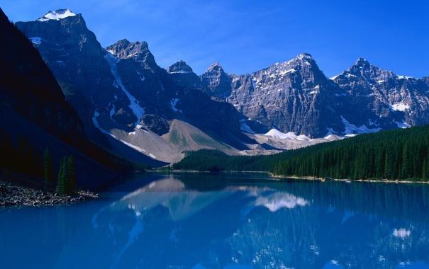 Фото обои лес, горы, снег, синее небо, озеро