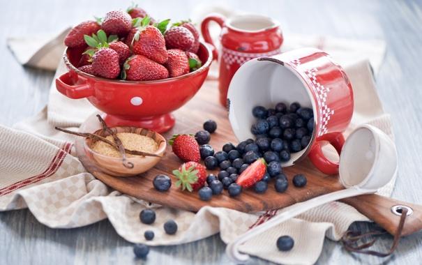 Фото обои ягоды, черника, клубника, посуда, доска, ваниль, Anna Verdina