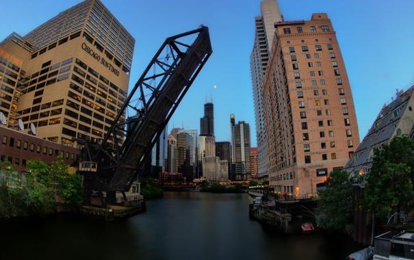 Фото обои мост, здания, небоскребы, вечер, америка, чикаго, сша