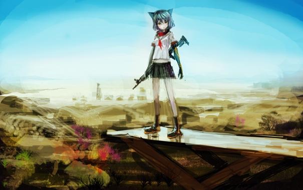 Фото обои небо, девушка, пейзаж, оружие, башня, аниме, арт