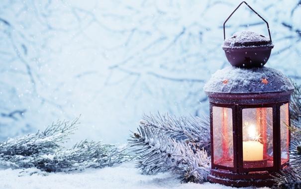 Фото обои зима, снег, свеча, фонарь, Новый год, new year, winter