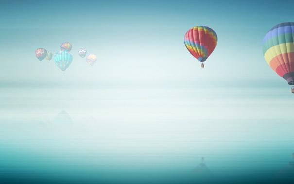 Фото обои небо, воздушный шар, воздушные шары, пейзажи, полёт